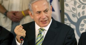 Israel's PM Netanyahu speaks during the weekly cabinet meeting in Safed